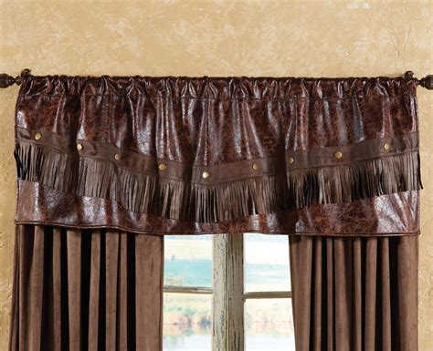 western curtains distressed leather western valance