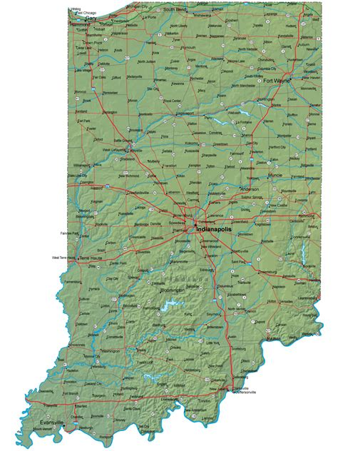 indiana state map detailed indiana map in terrain map