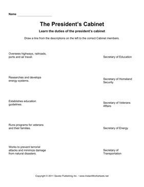 Presidential Cabinet Worksheet by Government Cabinet Match 3 Instant Worksheets