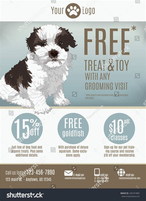 puppy for sale flyer templates flyer template pet store groomer discount stock vector 236741809