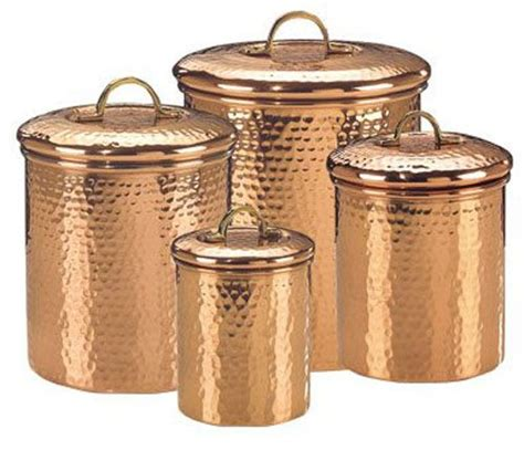 copper canister set kitchen ware hammered cookware food set of 4 hammered copper food canisters old dutch
