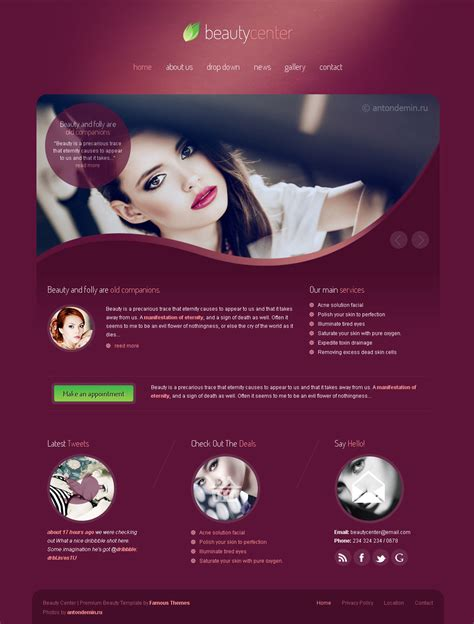 Beauty Center Responsive Wordpress Theme By Sindevothemes Themeforest Hair Salon Website Design Templates Free