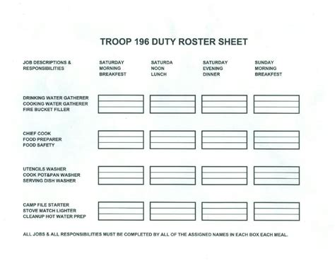 duty roster template
