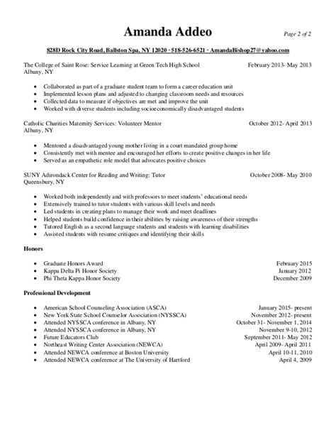 Resume For Graduate School Counseling School Counseling Resume 2015