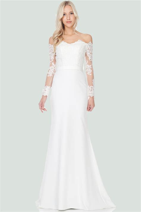 elegant simple long sleeve lace wedding dress simply