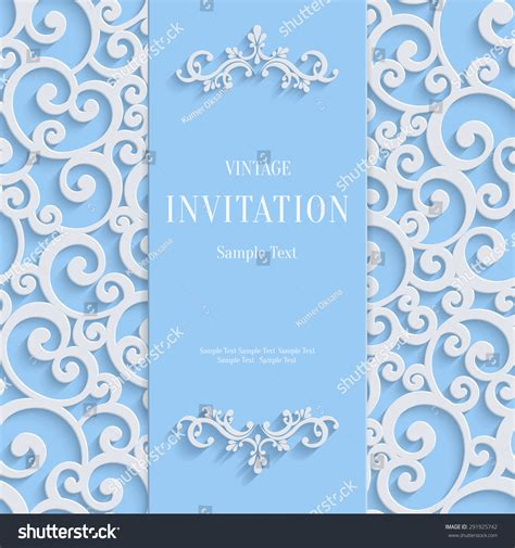3d Invitation Card Template by Blue 3d Floral Curl Background With Swirl Damask Pattern