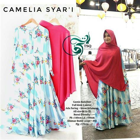 Set Gamis Buble Crepe Khimar Bergo Lancip gamis camelia syar i crepe baju muslim motif bunga