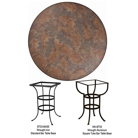 tile top bar table ow lee 42 inch round porcelain tile top bar table p42 bt03