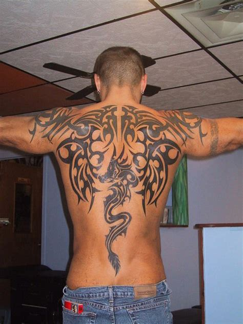 black ink back tribal tattoos for