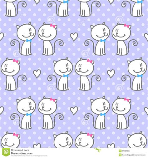 polka dot seamless pattern background hand drawn vector cats in love stock vector image 51784265