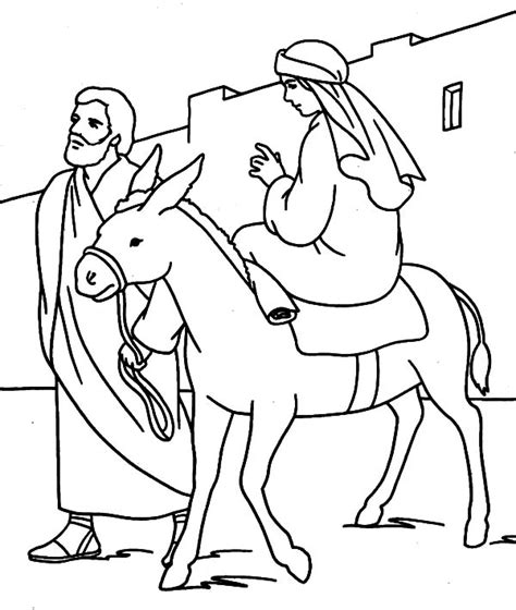coloring pages mary and joseph bethlehem mary and the donkey and joseph journey to bethlehem
