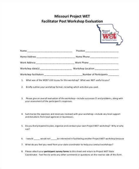 facilitator evaluation form template facilitator evaluation form asli aetherair co