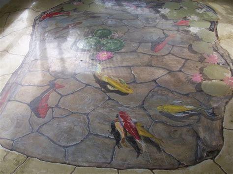 Floor Mural, trompe l'oeil, Koi fish pond by Louise