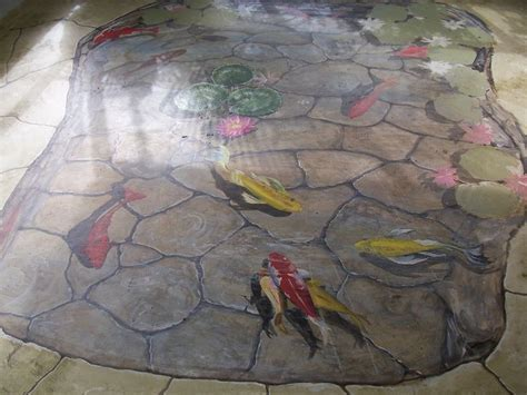 Floor Mural, trompe l'oeil, Koi fish pond by Louise