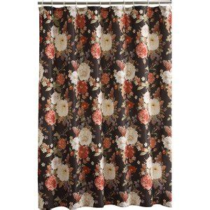 black floral shower curtain com dramatic cabbage rose floral fabric shower