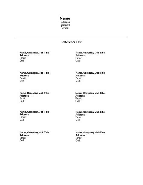 resume reference list template sample resume reference page