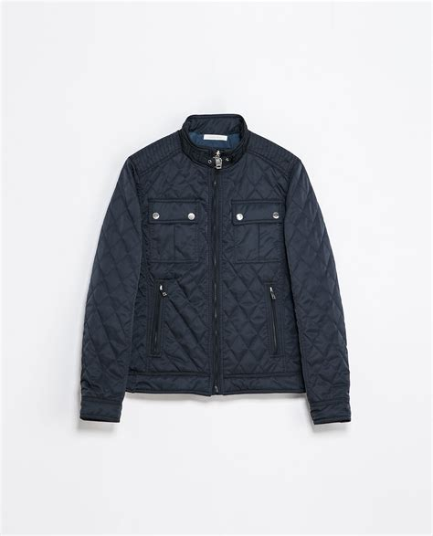 Quilted Jacket Zara by Zara Quilted Jacket In Blue For Navy Blue Lyst
