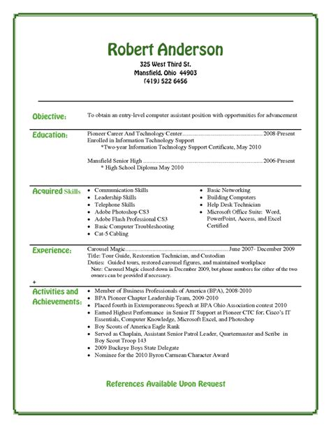 Resume Template For School Entry Level Resume Template For High School Students Recentresumes