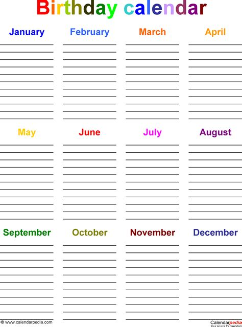 birthday list template birthday calendars 7 free printable word templates