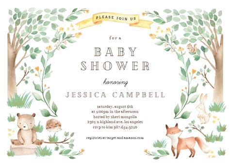 Woodland Creatures   Baby Shower Invitation Template (Free