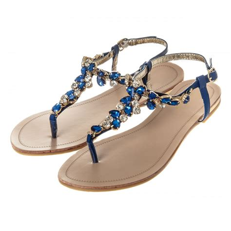 flat sandal shoes flat toepost jeweled sandal from miss shoes uk