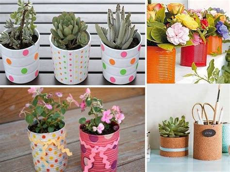 flores vasos de plastico de cafe papel macetas manualidades dia de la maceteros originales hechos con latas pintadas a mano