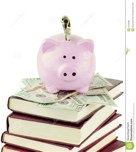 book piggy bank piggy bank and school books royalty free stock image
