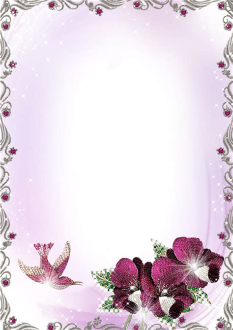 large silver  purple transparent frame  flowers