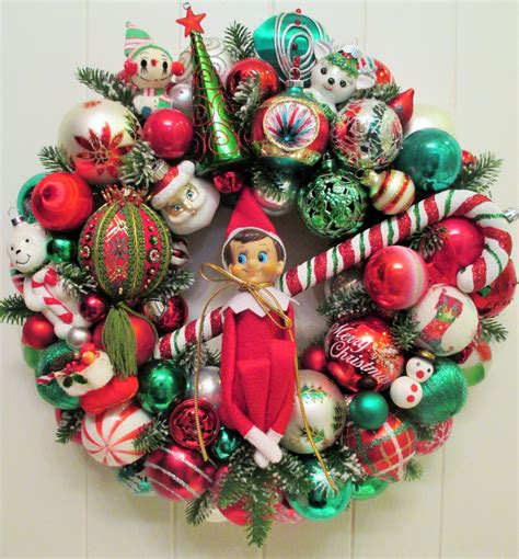 elf on the shelf christmas ornament wreath with new book