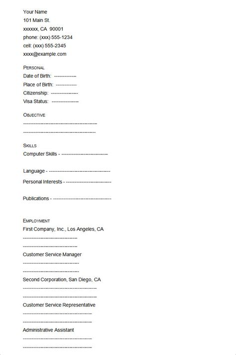 Resume Templates Exles by Resume Format Blank Ppyr Us