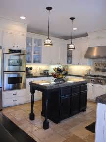 Black Kitchen Island by Hanging Lights Over Island In Kitchen