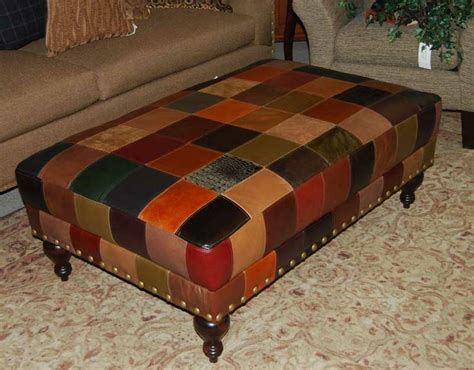 Leather Patchwork Ottoman - patchwork leather ottoman designer patchwork leather