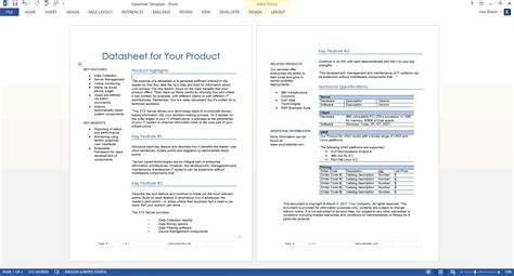 datasheet templates 2 x ms word