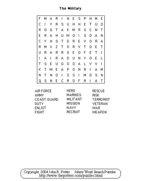 Search For In The Army S Word Search Puzzles The
