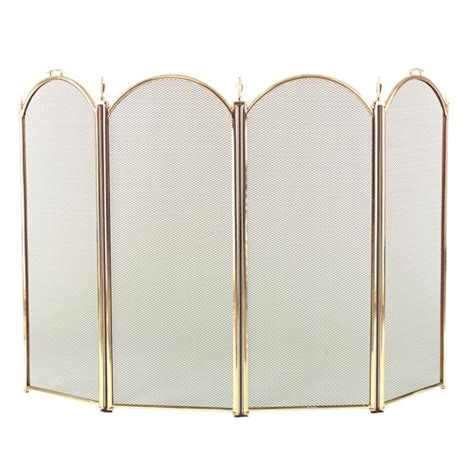 4 fold arched polished brass fireplace screen 3189 9