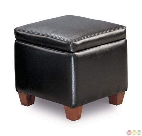 Faux Leather Upholstered Ottoman With Storage Space Leather Hassock Ottoman