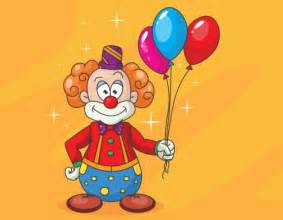 funny clown with colorful balloons vector free download