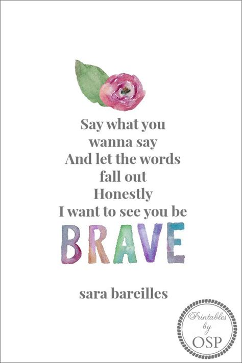 Printable Brave Lyrics | be brave free printable wisdom quotes