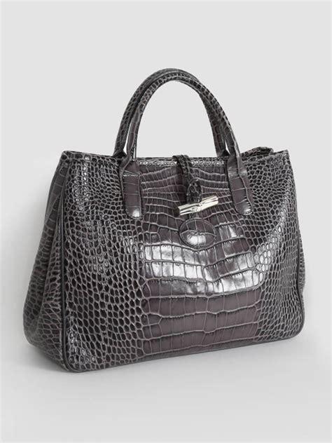 Croco Bag by Longch Roseau Croco Pattern Bag Grey Luxury Bags