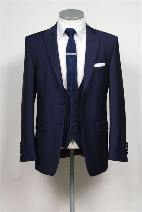 Jaket Pria Vans Bb Two In One grooms wedding suit navy slim fit 2 button single breasted