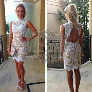 e2020 off the shoulder open back short white lace prom dress in prom dresses from weddings