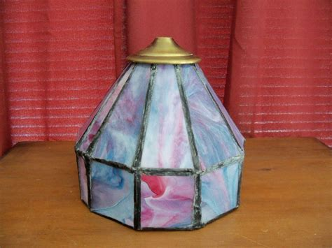 slag glass l shade antique leaded blue pink slag glass l shade ebay