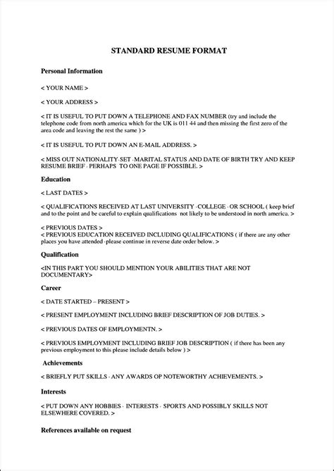 standard format of resume for internship pic of standard cv format resume format