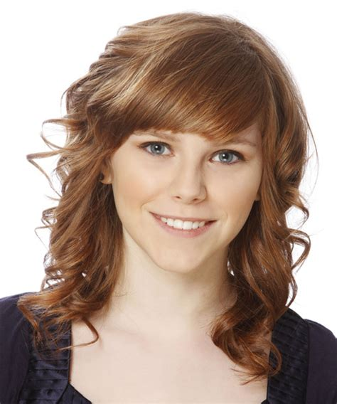 brunette hairstyles wiyh swept away bangs medium curly formal hairstyle with side swept bangs