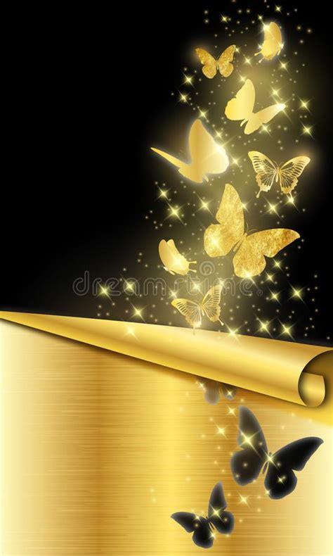gold butterflies  black background stock vector