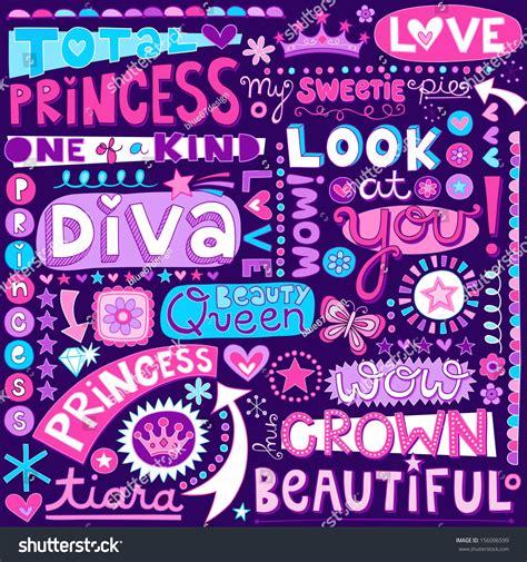doodle name tiara princess tale word doodles stock vector