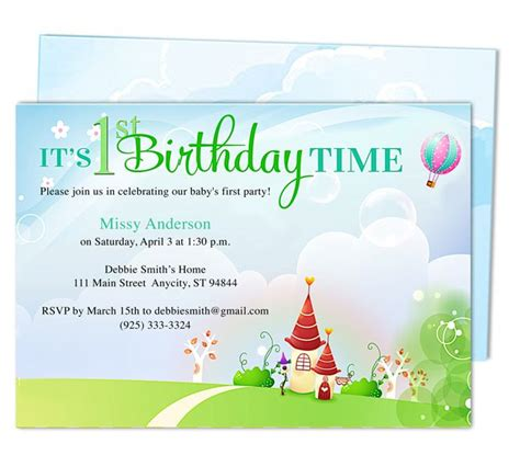 kiddie landscape 1st birthday party invitation templates