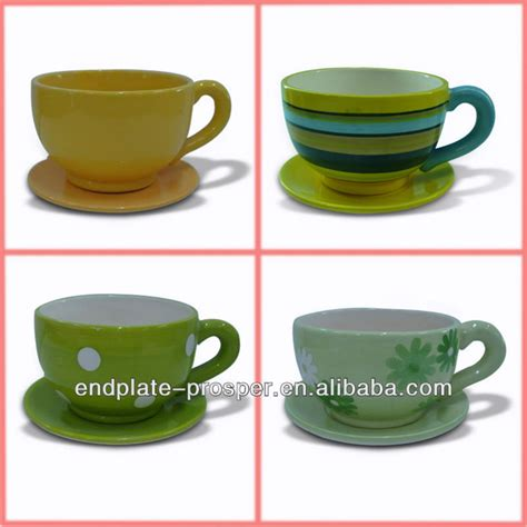 large ceramic flower pots with coffee cup and saucer shape