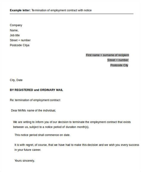 Letter Of Employee Contract Termination 41 sle termination letter templates word pdf ai free premium templates