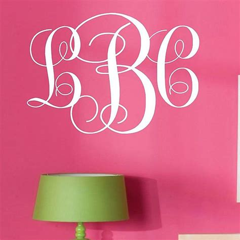 wall lettering stickers monogram initials vinyl wall decal lettering words personalized graphics monogram